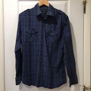 Banana Republic Blue Plaid Button Down Shirt M